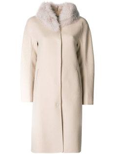 пальто с воротником из меха ягненка Herno