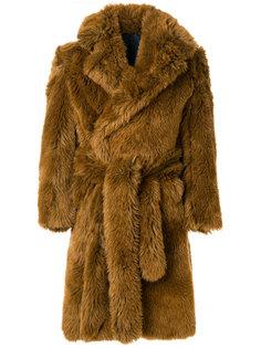 пальто мешковатого кроя из эко-меха Mp  Massimo Piombo