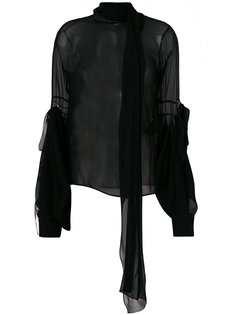 полупрозрачная блузка с объемными рукавами  Saint Laurent