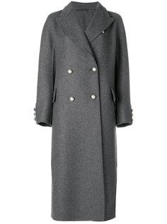 двубортное пальто с искусственным жемчугом Ermanno Scervino