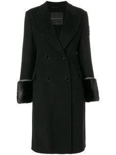 двубортное пальто с меховыми манжетами Ermanno Scervino