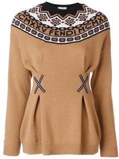 свитер с круглым вырезом и логотипом  Fendi