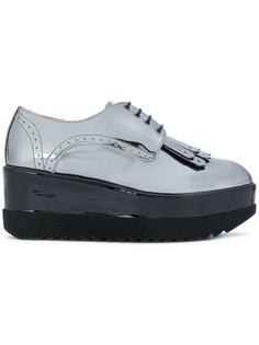 туфли на платформе с эффектом металлик Pollini