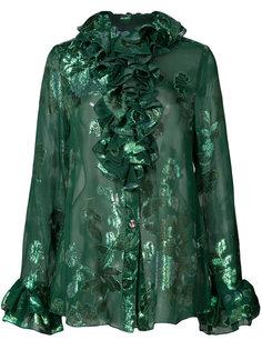 рубашка с рюшами и цветочным принтом  Anna Sui