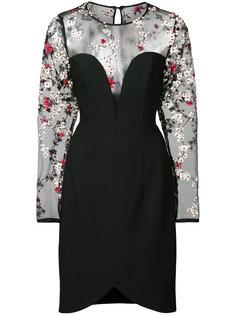 платье с цветочной вышивкой и прозрачными панелями  Black Halo