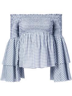 """блузка с открытыми плечами в клетку """"гингем""""  Caroline Constas"""