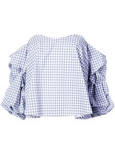"""блузка с принтом """"гингем"""" и присборенными рукавами Caroline Constas"""