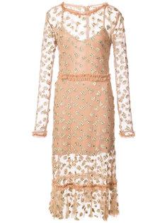 платье с вышивкой бабочек For Love And Lemons