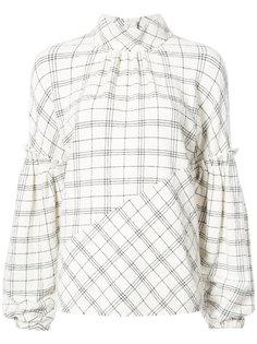 блузка в клетку с рукавами-колокол Tibi