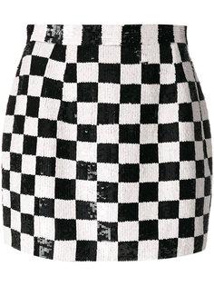 мини-юбка в клетку с пайетками  Ashish