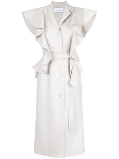 длинное пальто с отделкой из рюшей Irene