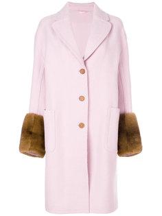 пальто с манжетами из меха норки  Ermanno Scervino