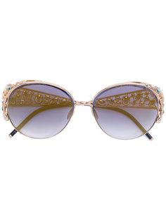круглые солнцезащитные очки с кристаллами Swarovski Elie Saab