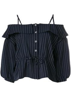 блузка в полоску с открытыми плечами  Jovonna