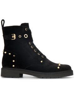 байкерские ботинки с заклепками и логотипом Fendi