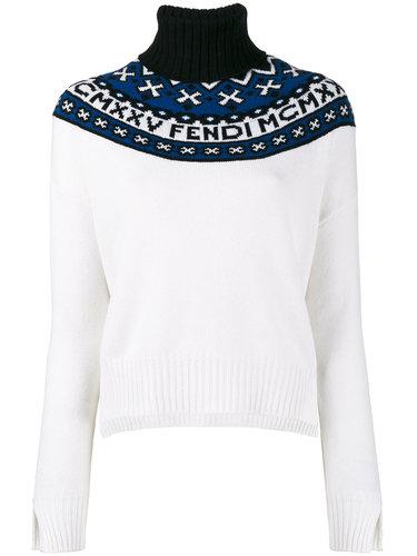 свитер с высоким горлом и логотипом Fendi