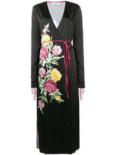 атласное платье миди Grace с цветочным принтом Attico