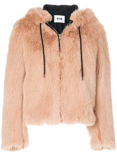 пальто из искусственного меха с капюшоном MSGM