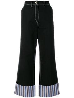 широкие брюки с полосками на манжетах Minki