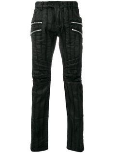 байкерские джинсы с вощеной отделкой Balmain