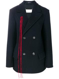 двубортное пальто с бахромой Maison Margiela