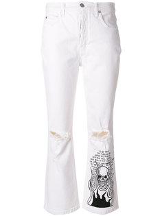 джинсы клеш с принтом черепа Adaptation