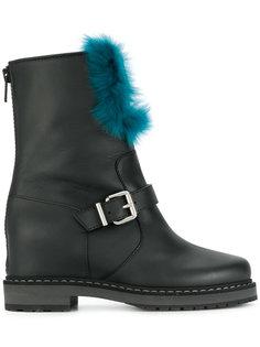 ботинки с пряжками и кроличьим мехом Fendi