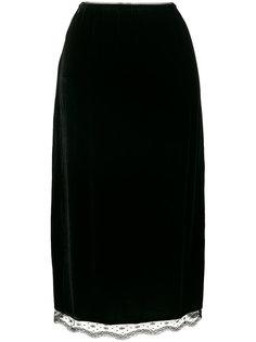 бархатная юбка А-образного силуэта McQ Alexander McQueen
