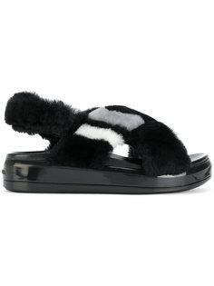 сандалии с искусственным мехом Prada