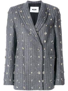 декорированный классический пиджак в полоску MSGM