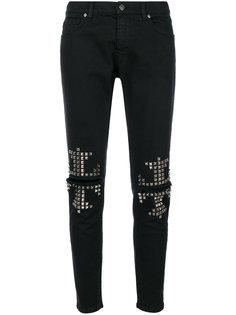 джинсы с прорехами и заклепками  Gaelle Bonheur