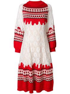 кружевное платье со вставками и принтом  Vivetta