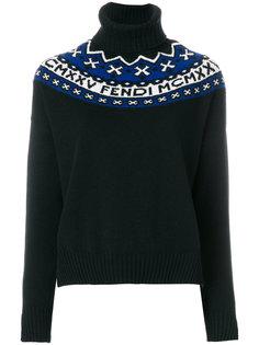 свитер с отворотом и вышивкой Fendi