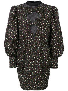 платье с объемными рукавами и цветочным принтом  Alessandra Rich