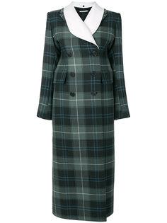 двубортное пальто в шотландскую клетку Alessandra Rich