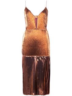 плиссированное платье с отделкой металлик Christian Siriano