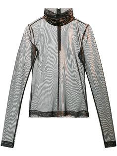 прозрачная блузка с отворотной горловиной Christian Siriano