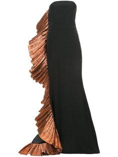вечернее платье с бронзовой отделкой Christian Siriano