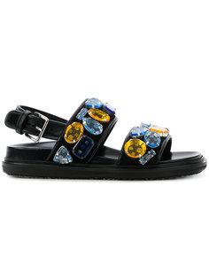 декорированные сандалии Fussbett Marni