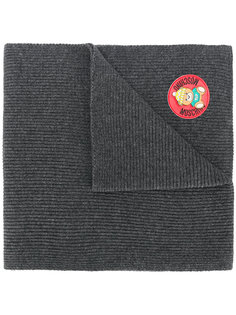 шарф в рубчик с логотипом Moschino
