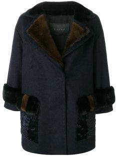объемное пальто с норковым мехом Blancha