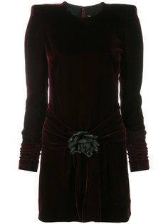 структурированное бархатное платье  Saint Laurent