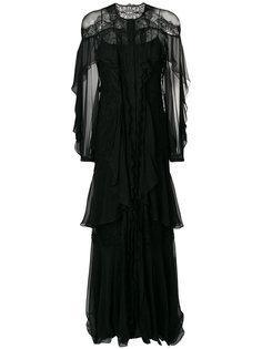 платье с кружевом и оборками Alberta Ferretti