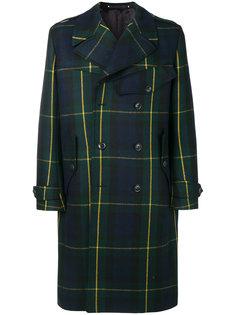 двубортное пальто в шотландскую клетку Paul Smith