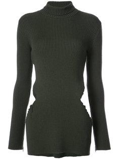 свитер с отворотной горловиной  в рубчик Yang Li