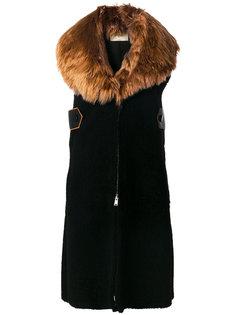удлиненное пальто без рукавов Fendi