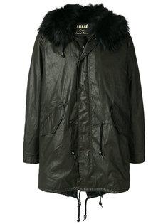 пальто с капюшоном и мехом енота S.W.O.R.D 6.6.44