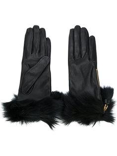 перчатки с отделкой из меха Prada