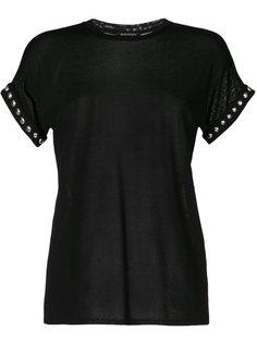 футболка с отделкой стразами  Balmain