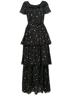 многослойное платье с цветочным принтом Alessandra Rich